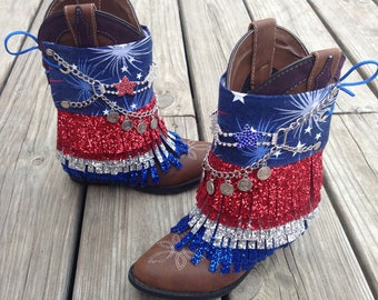 READY TO SHIP Patriotic Boot Covers