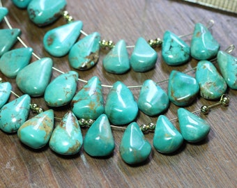 Turquoise Beads Turquoise Teardrop Briolette Beads Blue Gemstone Beads Turquoise Stone 1 Pair (2 beads)
