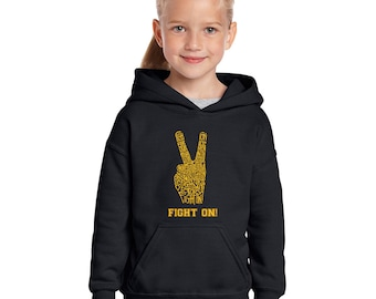 Girl's Hooded Sweatshirt - Created using the Lyrics to the USC Fight Song – Fight On! USC