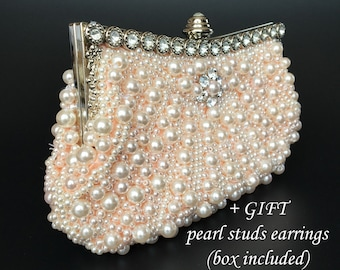 pearls purse evening bag wedding clutch bridal purse pearls clutch elegant bag cocktail party clutch light pink purse crystal pearls handbag