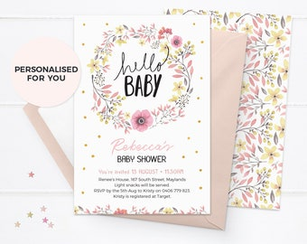 Floral baby shower invitations, Girl baby shower invitations, Printable baby shower invitations girl, Baby shower invites, hello baby shower