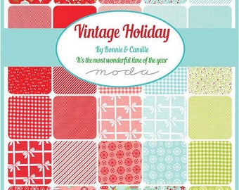 Vintage Holiday  - Christmas Fabric - Bonnie and Camille - Fat Quarter Bundle - Moda