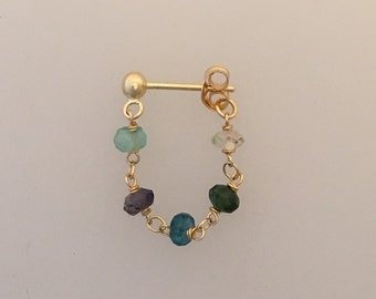 Single 18k gold & multi-gem ear chain