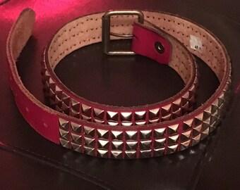 Vintage Red Leather Metal Studded Belt Size 34