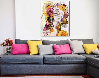 ON SALE 20% OFF Flora - stretched canvas print, mixed media collage art, bohemian art, colorful boho chic decor, canvas art, floral wall art