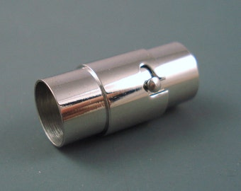 Magnetic Clasp, 6MM Latching Tube Stainless Steel Clasp for Leather or Cord, 6MM End Cap (SC6-5)