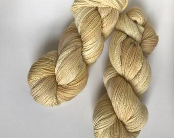 Hand-dyed yarn, Indie dyed yarn, hand dyed yarn SOLID GOLD --dyed to order -- Times Square merino/ nylon fingering yarn