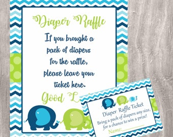 Elephants baby Shower diaper raffle tickets and sign, blue and green elephants, INSTANT DOWNLOAD, printable diaper game, boy baby shower