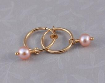 Clip on hoop earrings, Freshwater pearls Pretty in Pink
