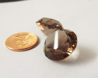 Smokey Quartz cabachons, pair of round faceted smokey quartz stones