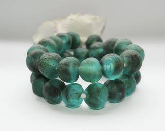 Kroboperlen XL, Turquoise, sea glass, sea green, recycled glass beads, glass beads, Africa/Ghana, 18 mm,