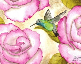 Hummingbird Art Print, Bird Watercolor Print, Animal Art, Hummingbird and Pink Flowers Painting, Colorful Wall Art, Garden Art, Home Decor