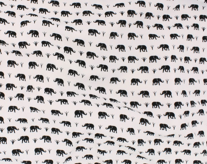 Colorado Elephants Print in Black and White by Telio - Lightweight / Fashion / Apparel / Polyester Faille Fabric by the Yard