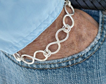 "sterling silver Infinity Link  bracelet.  Unisex. hand forged. ""Endless Love"""