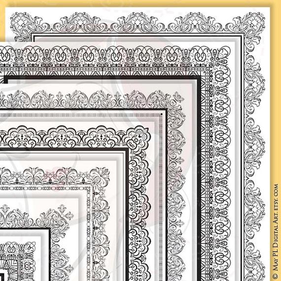 8x11 Certificate Border Frames VECTOR Clip Art Vintage