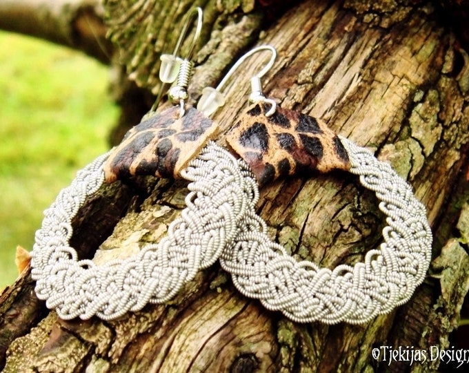 Nordic Viking Earrings YGGDRASIL in Sami Style with Pewter Braids and Leopard Reindeer Leather