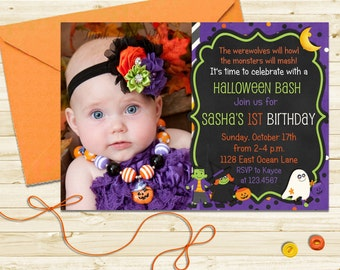 Halloween Birthday Party Invitation - Kids Costume Party Printable Invite