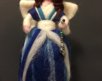 Magical Needle Felted Waldorf Style Fairy with Glass Beads and Charms. Tree Topper/Freestanding Angel.