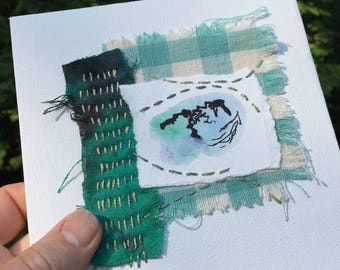 Fabric Collage - Small Art - Fibre Art Stitch Meditation - Hand Stitching - Slow Stitch