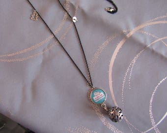 CLEARANCE necklace pregnancy Bola silver blue black