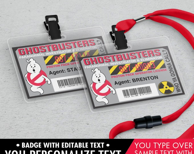 Ghost-buster Badges - Ghost-buster I.D. Badge,Ghostbusters Birthday Party Favor,Self-Editing | DIY Editable Text INSTANT DOWNLOAD Printable