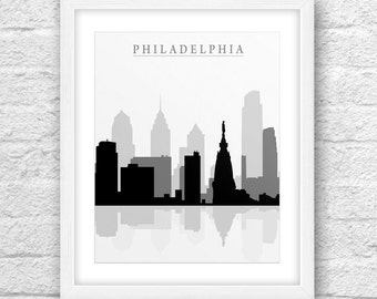 Philadelphia Skyline, Cities Philadelphia Art, Philadelphia Black and White Art,Philadelphia Wall Art, Minimal Design, Minimalist