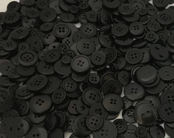 Black Buttons Mixed Bulk Choose your Quantity 50 or 100, Assorted Sizes, Sewing Buttons Scrapbooking Craft