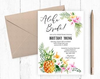 Aloha Bride, Tropical Bridal Shower Printable Invitation 8x10 Inches, Pineapple Hibiscus Palms, Hawaiian Luau Wedding Shower, Beach TROP9