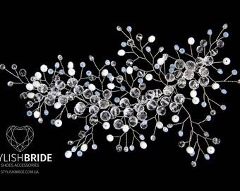 Crystal Moonlit Wedding Hair Vine, Hair Vine, Crystal Hair Accessories, Crystal Vine, Bridal Hairpiece Active