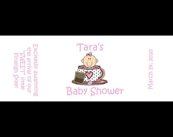 120 Personalized Baby Shower Mini Candy Bar Labels  LITTLE TEA CUP