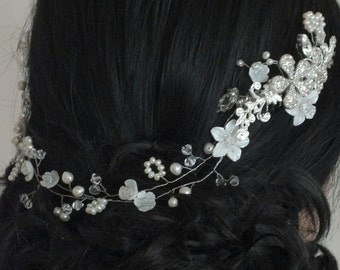 Sasa- Vintage style Mother pearl flower, Freshwater pearl, Rhinestone Flower Bridal Tiara