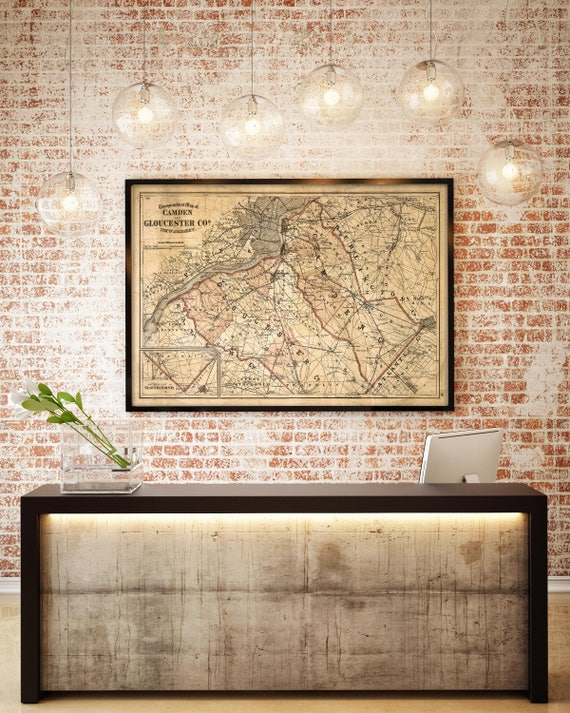 Old map of Camden New Jersey Map Decor antique New Jersey map Restoration Hardware Style Map office wall map  new home housewarming Gift