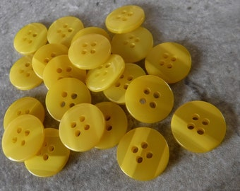 """21 Bright Yellow Double Stripe Round Buttons Size 9/16"""""""