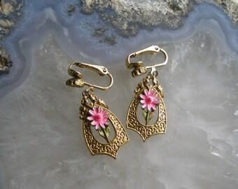 Vintage ART pink enamel drop earrings
