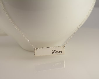 Sideway bar necklace. Bar necklace. Love necklace