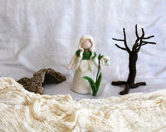 Waldorf inspired needle felted flower-doll: Snow drop flower fairy