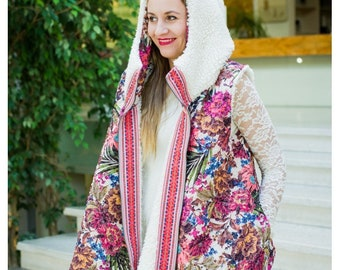 TaTytea design double sided sheepskin and lace vest with big hood