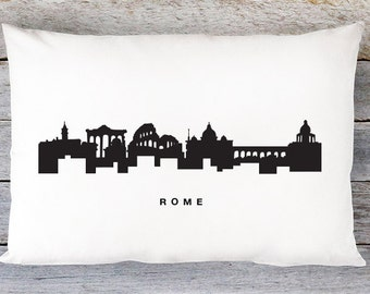Rome Skyline Pillow Cover - Rome Italy Skyline Throw Pillow Cover - Modern Black and White Lumbar Pillow - By Aldari Home