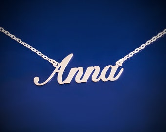 Custom Name Necklace Personalized Necklace Bridesmaid Jewelry Custom Necklace Bridesmaid Necklace Mom Necklace Gold Name Necklace Silver
