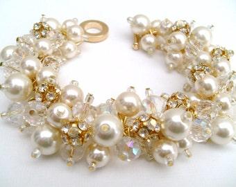 Pearl and Rhinestone Bridal Jewelry, Wedding, Pearl Bridesmaid Bracelet, Pearl and Crystal Bracelet, Cluster Bracelet, Ivory Pearl Bracelet