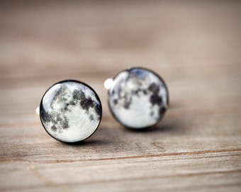 Full moon cufflinks, Space Cufflinks, Planet cufflinks, Gift for husband, Space gift for him, Galaxy cufflinks, Science gift for men