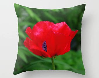 Red oriental poppy throw pillow, pillow cover, decorative throw pillow, nature inspired living room decor, Christmas gift for her