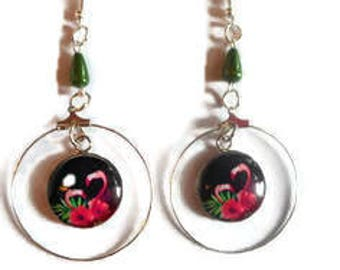 """Cabochon earrings / """"Flamingo"""" / fuchsia, green and black color / gift / birthday / mothers/thank you party"""
