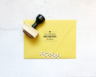 Save our date stamp - the Melissa - for wedding, invitations, stationary, envelopes, couples - wood mounted with handle OR self-inking