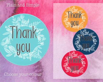 Thank you Sticker, Thank you Label, Floral  Sticker, Packaging Sticker, Envelope Seal, Gift Wrap Sticker, Wedding Favour Label, (TY3)
