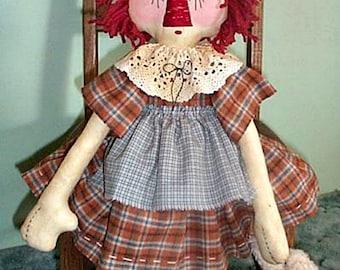 Rag Doll Pattern, Primitive Doll Pattern, Cloth Doll Pattern, Rag Doll Pattern, Raggedy Downloadable Pattern, E-Pattern, Annie & Tucker