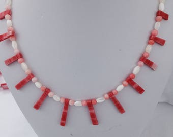 Coral and pearl fan necklace