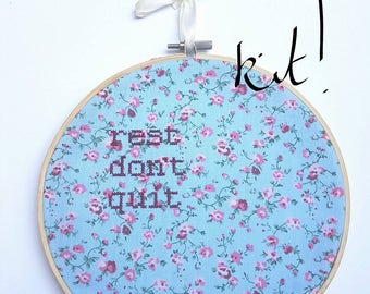 """Keep Going Cross Stitch KIT """"Rest Don't Quit"""" Embroidery 8"""" hanging mental health charity awareness gift, floral, determination, keep going"""