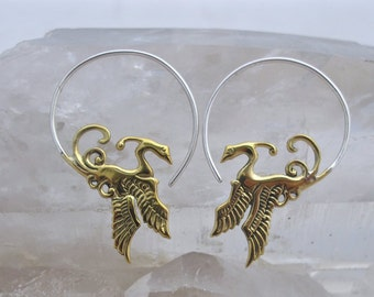 Phoenix Earrings  - Dragon Earrings - Bird Earrings - Inspirational Jewelry - Phoenix Jewelry - Hoop Earrings (b52)