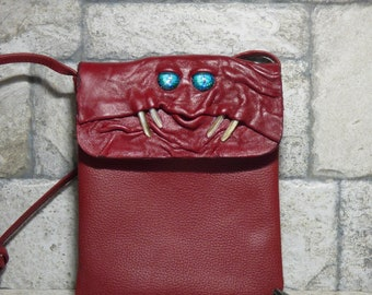 Small Cross Body Purse Pouch Monster Face Red Leather Harry Potter Labyrinth 436